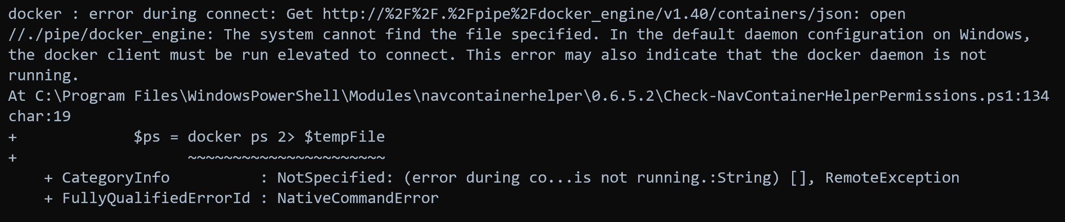 Error when trying to execute a docker command when Docker is not running