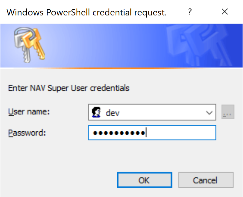 Credentials dialog