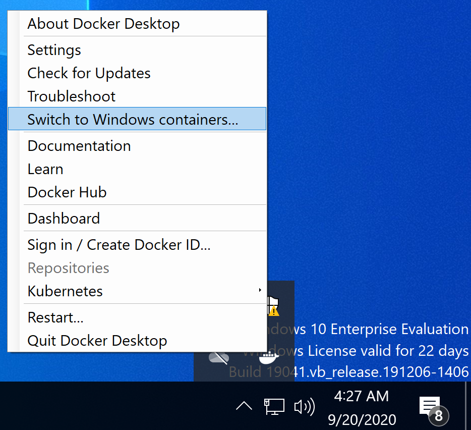 Switch to Windows containers menu item