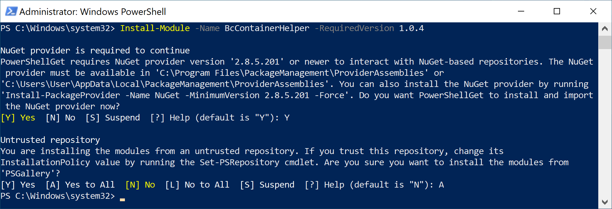 BC Container Helper installation output